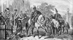 Juliusz Kossak (1824-1899), Pożegnanie Pana Mohorta przed drogą z Warszawy na Ukrainę. Strzemiennego!