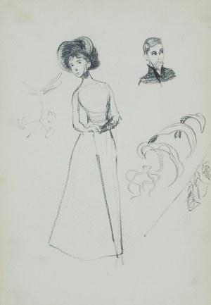 Włodzimierz Tetmajer (1861 - 1923), Szkice młodej kobiety w długiej sukni i kapeluszu na głowie, popiersie młodego mężczyzny, ok. 1900