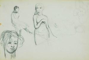 Włodzimierz Tetmajer (1861 - 1923), Szkice postaci młodej kobiety, głów młodzieńca, starego mężczyzny, ok. 1900