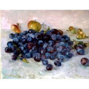 Stanisław Mazuś (Ur. 1940), Węgierki - martwa natura ze śliwkami i jabłkami, 2007