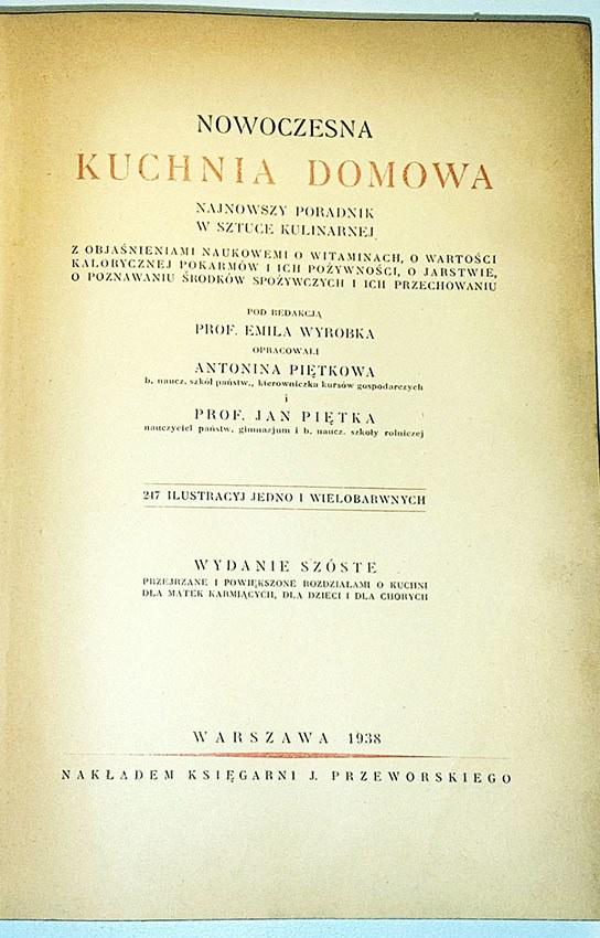 Nowoczesna Kuchnia Domowa Wyd1938r