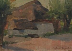 Wojciech KOSSAK (1856-1942), Wiejski chaty w słońcu
