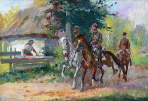 Juliusz Słabiak (1917 Sosnowiec – 1973 Kraków) Przejazd ułanów przez wieś