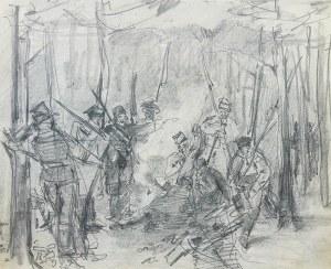 Stanisław Kamocki (1875 Warszawa – 1944 Zakopane) Żołnierze insurekcji kościuszkowskiej przy ognisku, ok. 1894 r.