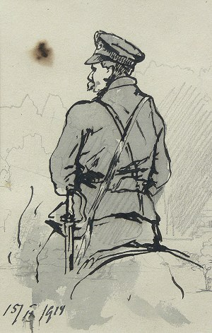 Tadeusz Rybkowski (1848 Kielce – 1926 Lwów) Żołnierz Legionów Piłsudskiego w siodle – szkic, 1919 r.