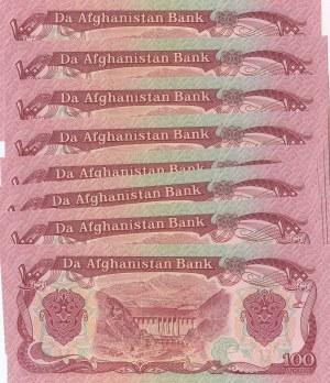 Afghanistan, 100 Afghanis, 1979-1991, UNC, p58, (Total 8 banknotes)