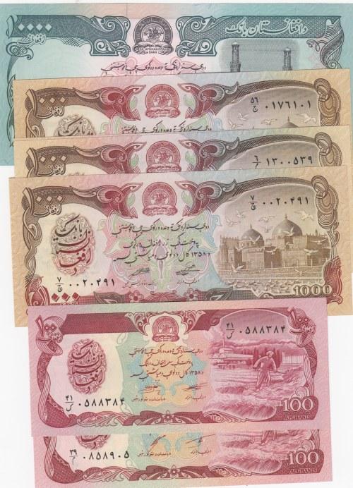 Afghanistan, 100 afghanis (2), 1000 Afghanis (4) and 10.000 Afghanis, UNC, (Total 7 banknotes)