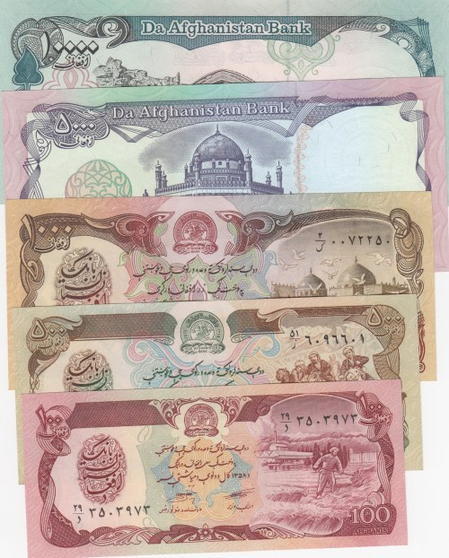 Afghanistan, 100 Afghanis, 500 Afghanis, 1000 Afghanis, 5000 Afghanis and 10.000 Afghanis, 1979-1993, UNC, (Total 5 banknotes)