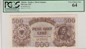 Albania, 500 Leke, 1947, UNC, p22