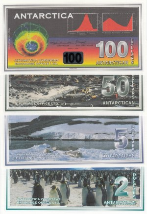 Antarctica, 2 Dollars, 5 Dollars, 50 Dollars and 1000 Dollars, 1996-2001, UNC, (Total 4 banknotes)