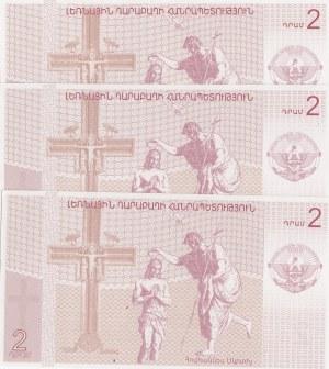 Armenia, Nagorno Karabakh, 2 Dram, 2004, UNC, (Total 3 banknotes)