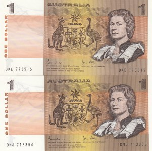 Australia, 1 Dollar, 1983, UNC, p42d, (Total 2 banknotes)