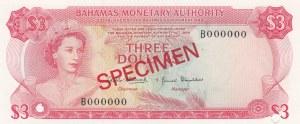 Bahamas, 3 Dollars, 1968, UNC, p28s, SPECIMEN