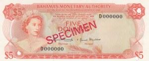Bahamas, 5 Dollars, 1968, UNC, p29s, SPECIMEN