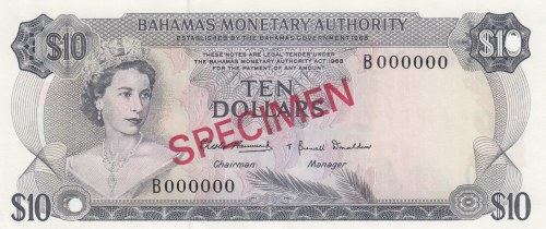 Bahamas, 10 Dollars, 1968, UNC, p30s, SPECIMEN