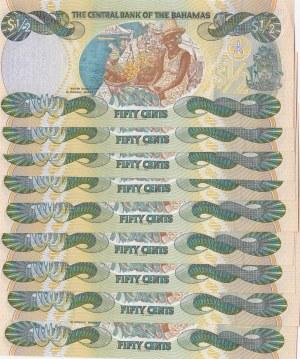 Bahamas, 50 Cents, 2001, UNC, p68, (Total 9 consecutive banknotes)