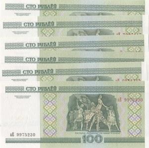 Belarus, 100 Rublei, 2011, UNC, p25, (Total 6 banknotes)