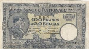 Belgium, 100 Francs or 20 Belgas, 1929, XF, p102