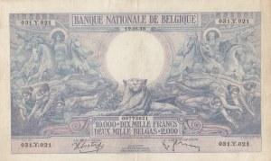 Belgium, 10.000 Francs or 2000 Belgas, 1938, ÇOK ÇOK TEMİZ, p105
