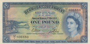 Bermuda, 1 Pound, 1957, AUNC, p20b