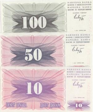 Bosnia- Herzegovina, 10 Dinara, 50 Dinara and 100 Dinara, 1992, UNC, p10 / p12 / p13, (Total 3 banknotes)