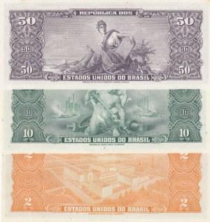 Brasil, 2 Cruzeiros, 10 Cruzeiros and 50 Cruzeiros, UNC, (Total 3 banknotes)