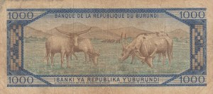 Burundi, 1000 Francs, 1968, VF (-), p25a