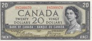 Canada, 20 Dollars, 1954, UNC (-), p33a, DEVİL'S FACE