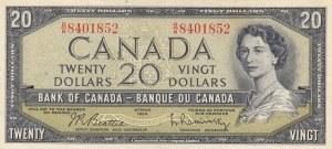 Canada, 20 Dollars, 1954, XF, p41b