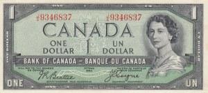 Canada, 1 Dollar, 1954, AUNC (-), p66b, DEVİL'S FACE