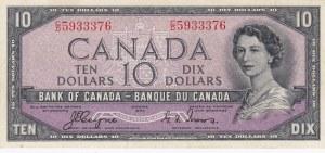 Canada, 10 Dollars, 1954, AUNC, p69a, DEVİL'S FACE