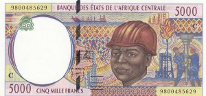 Central African States, 5.000 Francs, 1998, UNC, p104Cd