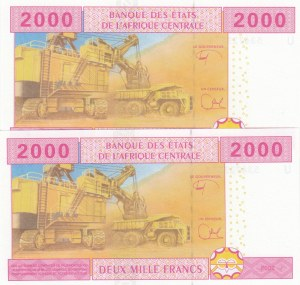 Central African States, Cameroun, 2000 Francs (2), 2015, UNC, p613U, (Total 2 consecutive banknotes)