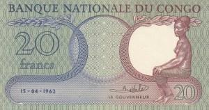 Congo, 20 Francs, 1962, UNC, p4a