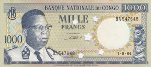 Congo Democratic Republic, 1000 Francs, 1964, UNC, p8, CANCELLED
