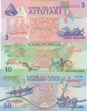 Cook Islands, 3 Dollars, 10 Dollars and 50 Dollars, 1992, UNC, p7, p8, p10, (Total 3 banknotes)