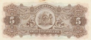 Costa Rica, 5 Colones, 1919, UNC (-), pS122