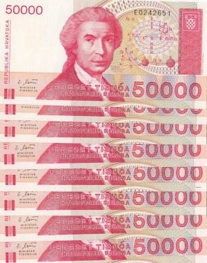 Croatia, 50.000 Dinara, 1993, UNC, p26, (Total 8 banknotes)
