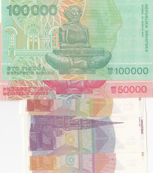 Croatia, 1 Dinar, 5 Dinars, 10 Dinars, 50.000 Dinars and 100.000 Dinars, 1991-1993, UNC, (Total 5 banknotes)