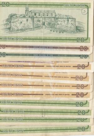 Cuba, 20 Pesos, 1985, VF / XF, (Total 11 banknotes)