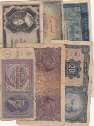 Czechoslavakıa, 5 Korun, 10 Korun, 20 Korun, 50 Korun ve 10 Korun (2), POOR / FINE, (Total 6 banknotes)