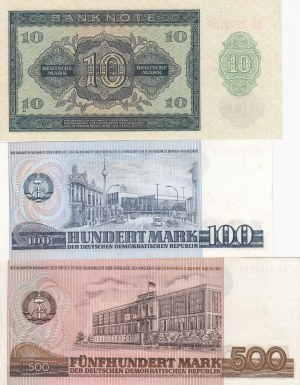Demokratic Germany Republic, 10 Mark, 100 Mark and 500 Mark, 1948 / 1975 / 1985, UNCL, p12 / p31 / p33, (Total 3 banknotes)