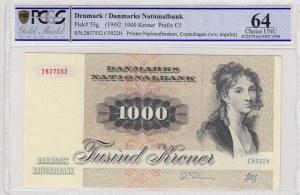 Denmark, 1000 Kroner, 1992, UNC, p53g