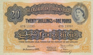 East Africa, 20 Shillings or 1 Pound, 1955, UNC, p35