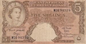 East African, 5 Shillings, 1958, FINE, p37