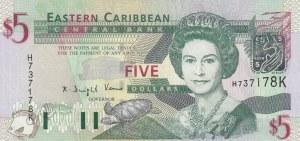 East Caribbean, 5 Dollars, 2000, UNC, p37k