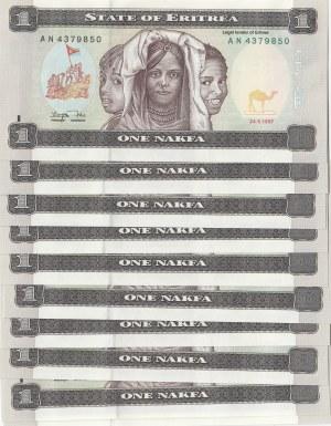 Eritrea, 1 Nakfa, 1997, UNC, p1, (Total 10 banknotes)