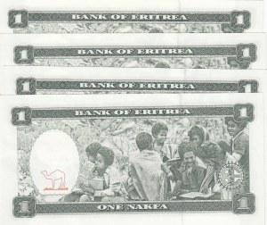 Eritrea, 1 Nakfa, 1997, UNC, p1, (Total 4 banknotes)