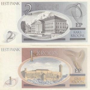 Estonia, 1 Kroon and 2 Kroon, 1992, UNC, p69 / p70, (Total 2 banknotes)