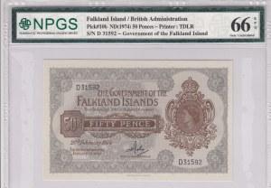 Falkland Islands, 50 Pence, 1974, UNC, p10b